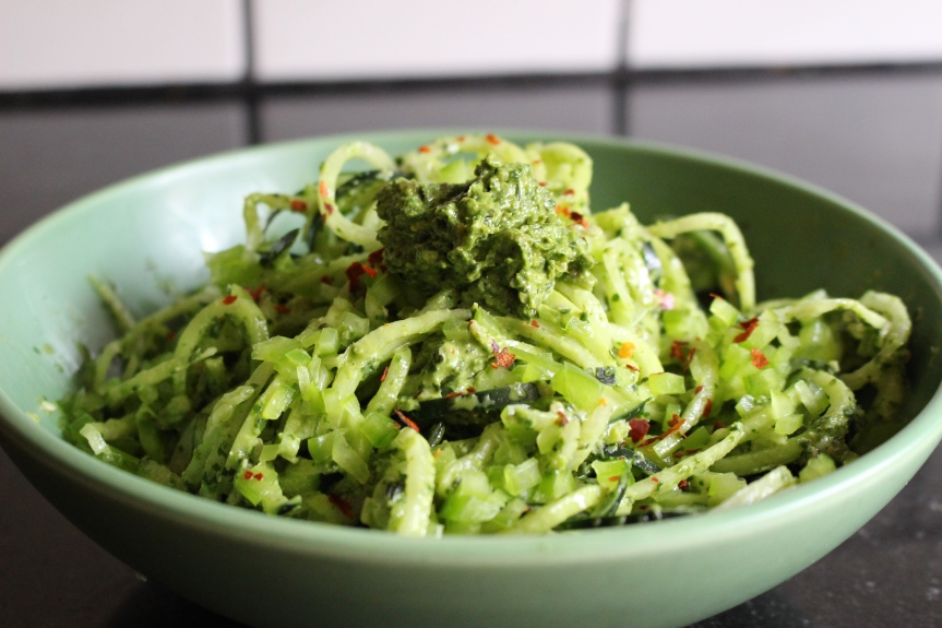 Zucchini Pasta with Spinach and Basil Pesto